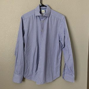 Camicissima Blue White Herringbone Shirt 15 1/2